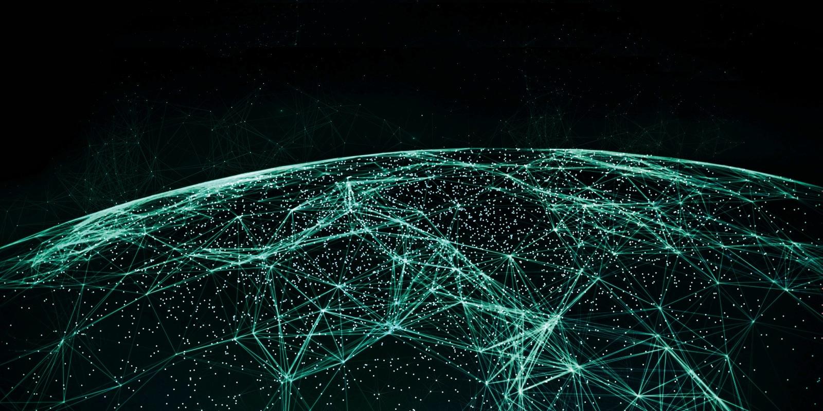 Vogelperspektive auf Weltkugel mit Datenstr?men