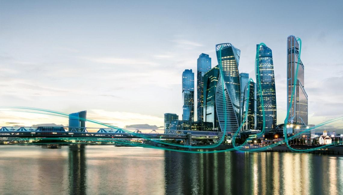 Moscow city - skyline - ISH 2019 Key visual building approach Moscow city - skyline - ISH 2019 Key visual building approach