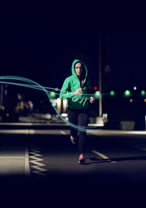 Jogging woman at night