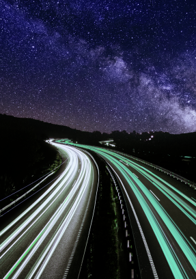 Highway under the milky way