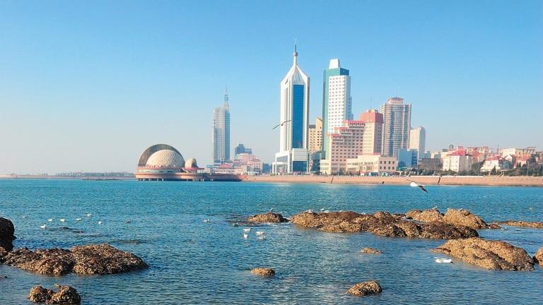Qingdao Sicht vom Wasser Stadtansicht QingdaoStadtansicht Qingdao