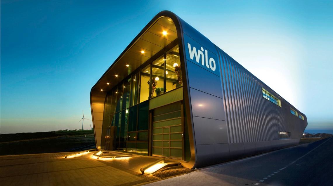 Wilo building in Zaanstad (Netherlands) at night