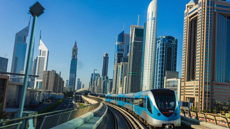 DUBAI, UAE - NOVEMBER 18: Dubai Metro. A view of the city from the subway car nov 18. 2012