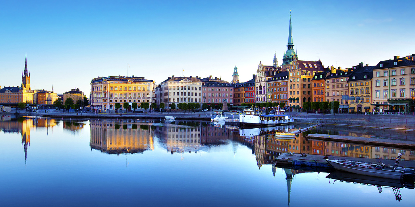 Central Stockholm with water.