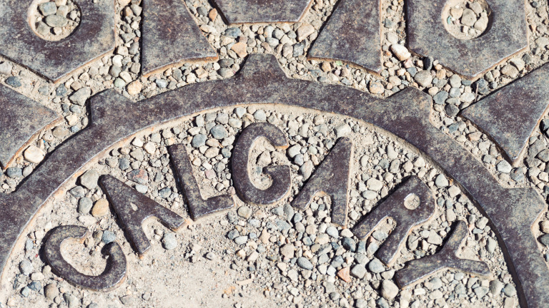 Close-up of a manhole cover in the Canadian city of Calgary, Alberta.