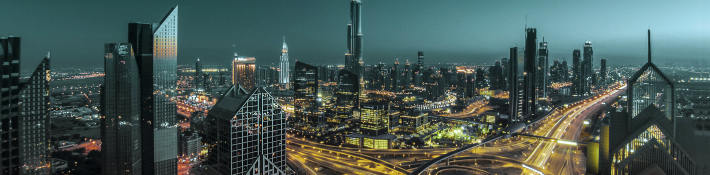 Dubai financial district at night, UAE.