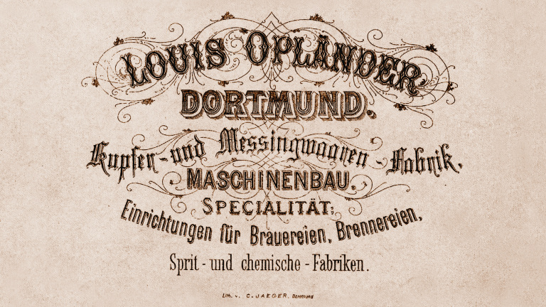 Historical lettering of Louis Opländer copper and brass goods factory.