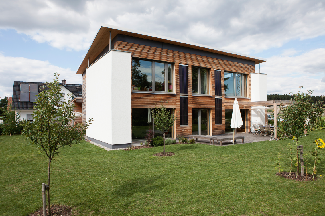 One-family house in Bavaria, Nuremberg. View of modern house with garden.