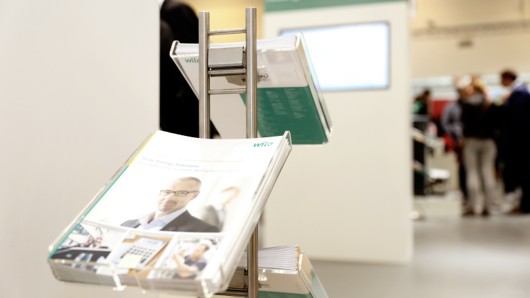 Brochure stand at SHK Essen fair 2016