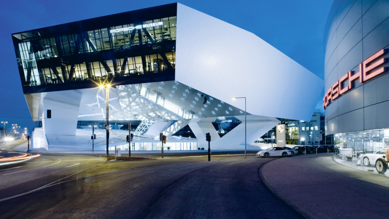 Porsche Museum at night