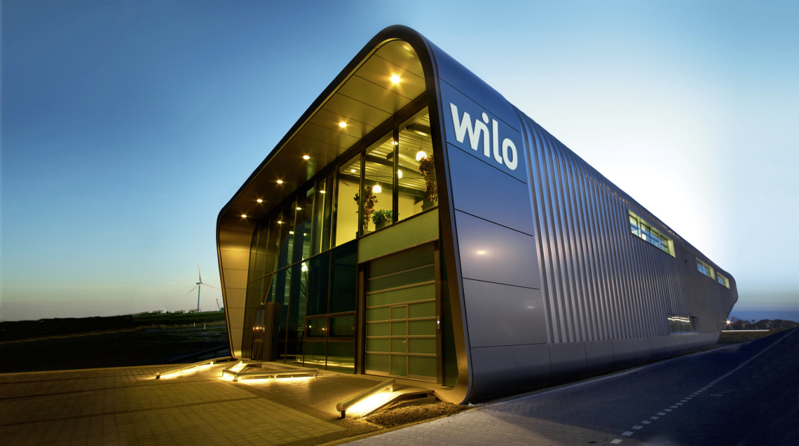 Wilo building in Zaanstad (Netherlands) at night